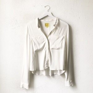 Maeve x Anthro | White Collared Button Up Blouse 4